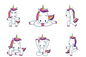Illustration Of Cute Unicorn Set