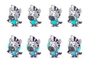 Cartoon Illustration Of Zebra Set