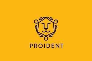 Lion face shield vector logo. Linear