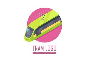 Tramway Vector Icon in Isometric
