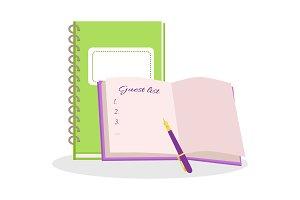 Wedding Notepads Flat Design Vector