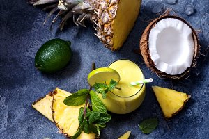Coconut pineapple cocktail, smoothy