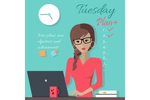 Office Lady Writing Down a Week Plan
