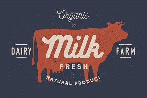 Milk, cow. Logo with cow silhouette