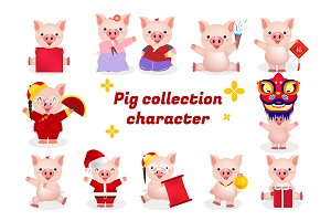 pig character bundle illustration
