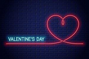 Valentines day neon banner.