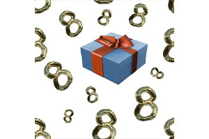 golden 8 numbers made by fur and