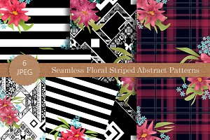 Seamless flowers modern patterns set