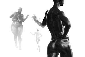 Black back Female woman torso on