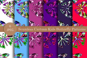 Seamless Cartoon Butterfly Pattern