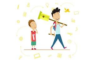 Little schoolboy and senior pupil. A