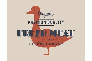 Duck meat. Vector vintage logo
