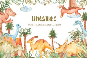 Dinosaurs. Watercolor collection.