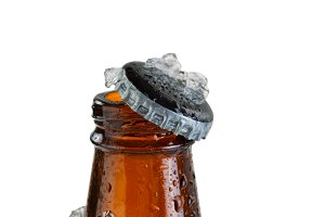 Iced Beer with cap off