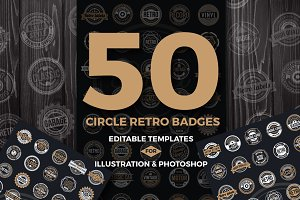 50 Vintage Round Badge & Logo