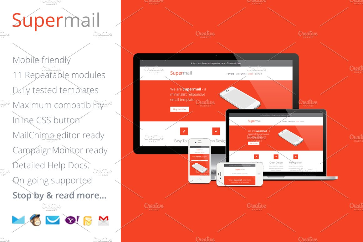 Supermail, Responsive Email Template ~ Email Templates ~ Creative Market