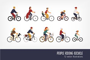 People riding bicycles set