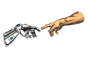 Hand touch. Android and human