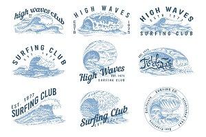 Wave labels, logos. Set of