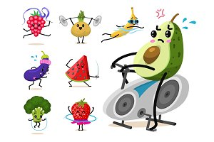 Sports fruit characters. Set