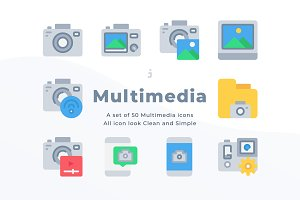 50 Multimedia icons - Flat