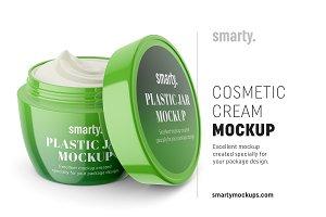 Cosmetic cream mockup / half opened