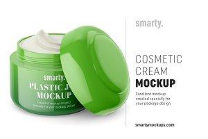 Cosmetic jar mockup / half opened
