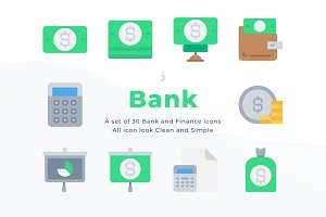 30 Banking and Finance icons - Flat