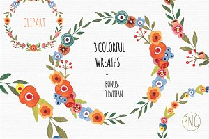 Floral Watercolor Wreath Clipart