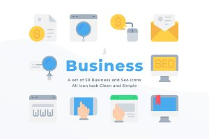 50 Business and Seo icons - Flat