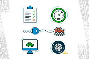 Car Service Outline Icons
