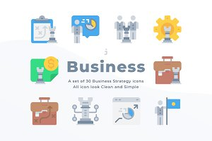 30 Business icons - Flat