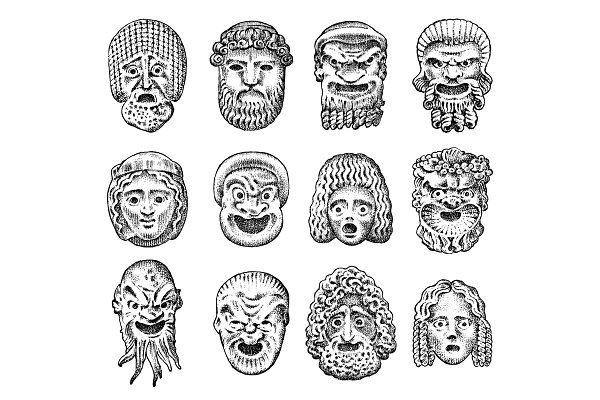 Antique scary masks. Ancient