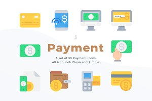 30 Payment icons - Flat