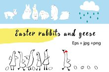 Easter rabbits and geese