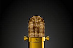 Background with golden microphone