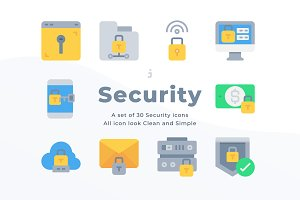 30 Security icons - Flat