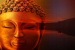 The figure of a golden Buddha in med