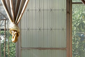 Glass Door Broken Windows Old Drapes