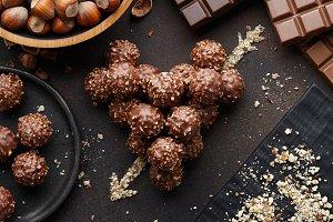 Heart shape made from chocolate truf