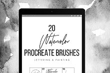 20 Watercolor Procreate Brushes