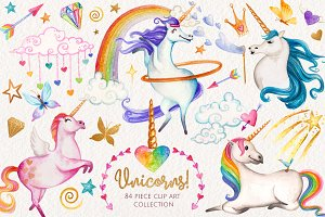 Watercolor Unicorns Graphics