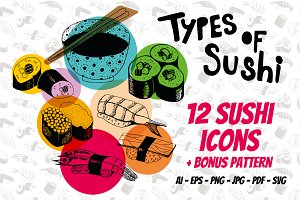 Sushi hand drawn illustrations