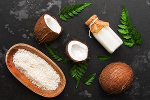 Coconut milk, coconut half and