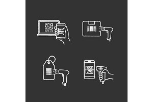 Barcodes chalk icons set