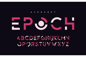 Stylized uppercase letters, alphabet