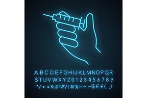 Injection neon light icon