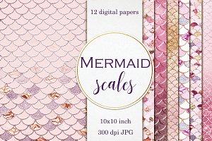 Mermaid scales - Pink & Gold