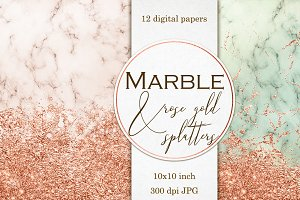 Marble, & Rose gold digital papers