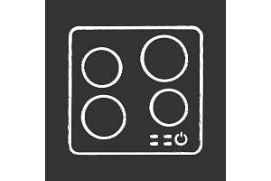 Electric induction hob chalk icon